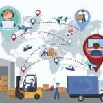 Production, transportation, delivery of cargo. People. Infographics. Forklift. Map. Vector illustration